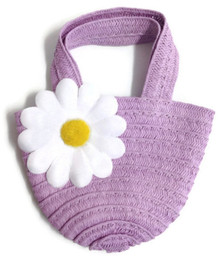 3 of Straw Bag-Lavender with Daisy Accent
