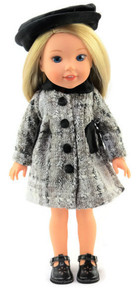 Silver & Black Coat & Hat for Wellie Wishers Dolls