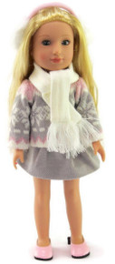 Gray & Pink Winter Skirt Set for Wellie Wishers Dolls