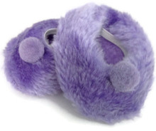 3 pair of Fuzzy Slippers-Purple