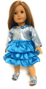 3 of Metallic & Ruffled Dress with Bow-Turquoise