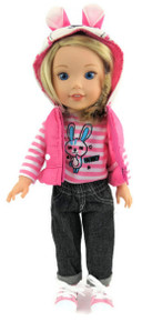 Bunny Puffer Vest, Striped Top, & Jeans for Wellie Wishers Dolls