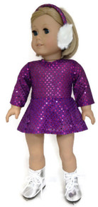 3 of Sequin Skating Dress & Earmuffs-Purple