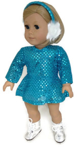 3 of Sequin Skating Dress & Earmuffs-Turquoise