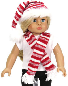 Red and White Striped Santa Hat & Matching Scarf