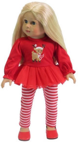 Red Rudolph Top & Striped Leggings