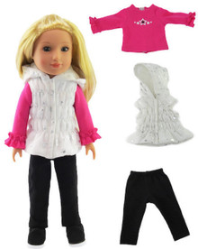 White Puffer Vest with Stars, Pink Top, & Black Leggings for Wellie Wishers Dolls