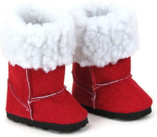 Suede Boots with Fur Trim-Red