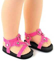 Sandals-Hot Pink for Wellie Wishers Dolls