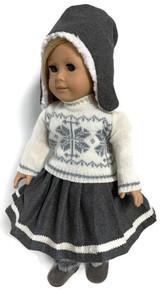 Cream Winter Sweater, Gray Pleated Skirt, & Hat