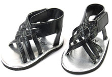 Black Braided Sandals with Bow
