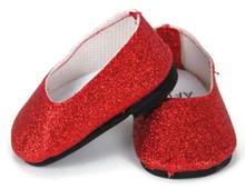 Slip On Dress Shoes-Red Glitter