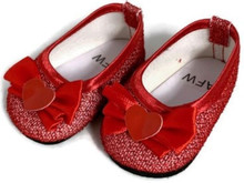 Glitter Dress Shoes with Bow & Heart Accent-Red