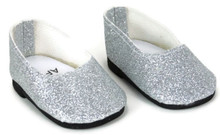 Slip On Dress Shoes-Silver Glitter