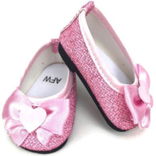 Glitter Dress Shoes with Bow & Heart Accent-Pink