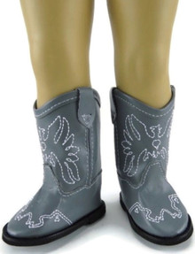 Cowboy Boots-Grey with Embroidered Eagle Accent