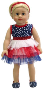 Patriotic Red, White & Blue Sparkle and Stars Dress & Headband