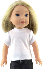 Short Sleeved Knit Top-White for Wellie Wishers Dolls