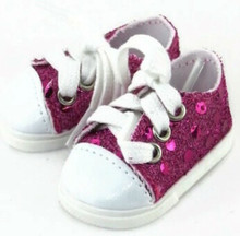 Sequined Tennis Shoes-Hot Pink for Wellie Wishers Dolls