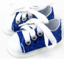 Sequined Tennis Shoes-Royal Blue for Wellie Wishers Dolls