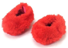 Fuzzy slipper Shoes-Red for Wellie Wishers Dolls