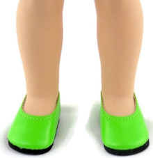 Flats Dress Shoes-Lime Green for Wellie Wishers Dolls