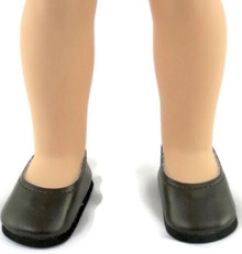 Flats Dress Shoes-Dark Brown for Wellie Wishers Dolls