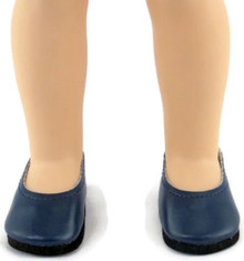 Flats Dress Shoes-Navy for Wellie Wishers Dolls