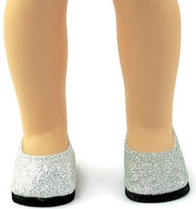 Glitter Flats Dress Shoes-Silver for Wellie Wishers Dolls