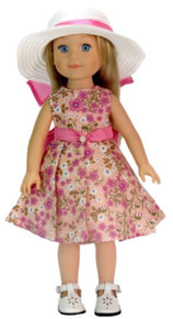 Pink Floral Dress & White Hat with Pink Ribbon for Wellie Wishers Dolls