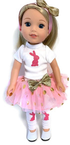 Easter Bunny Top, Tutu Skirt, Hairband & Leggings for Wellie Wishers Dolls