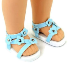 Sandals-Light Blue for Wellie Wishers Dolls