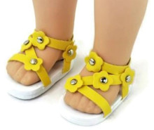 Sandals-Yellow for Wellie Wishers Dolls