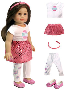 Easter Egg Top,  Pink Sequined Skirt, Headband, Leg Warmers & Pink Shoes