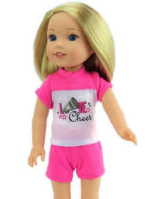 Pink & White Cheer Short Set for Wellie Wishers Dolls