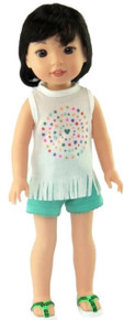 White Fringed Top & Green Shorts for Wellie Wishers Dolls