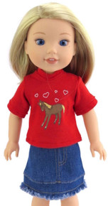 Red Top with Horse & Fringed Denim Skirt  for Wellie Wishers Dolls