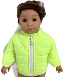 Fluorescent Yellow Puffer Jacket with Zipper