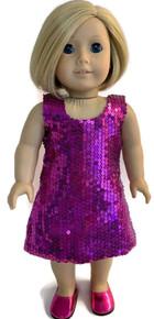 Sleeveless Sequin Dress-Fuchsia