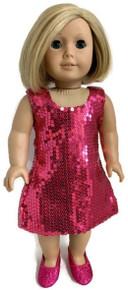 3 Sleeveless Sequin Dresses-Dark Pink