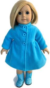 Fully Lined Fleece Coat-Turquoise