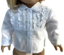 White Long Sleeved Tuxedo Blouse