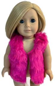 3 Faux Fur Vests-Hot Pink
