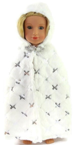 Long White Fur Cape with Silver Sequins for Wellie Wishers Dolls