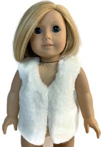 Faux Fur Vest-Sparkly White