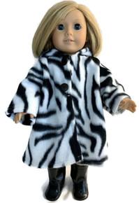 Hooded Fleece Coat-Zebra Print