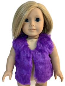 Faux Fur Vest-Purple