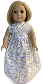 Summer Nightgown-Floral Print with Lavender Bow
