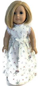 Summer Nightgown-Cream Floral Print with Cream Bow