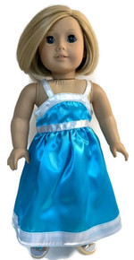 3 Satin Dresses with White Trim-Turquoise